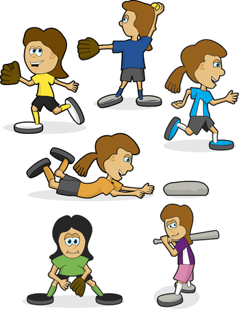 A collection of girls softball illustrations in vaus poses. Stock Vector - 5186709