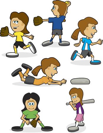 Een collectie van meisjes softbal illustraties in verschillende poses.