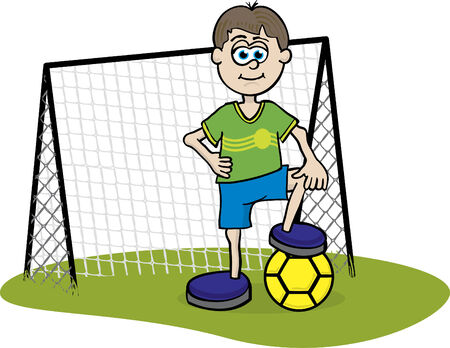 An illustration of a soccer player in front of the goal net.