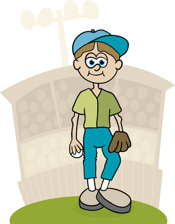Illustration of a baseball pitcher standing on the mound.