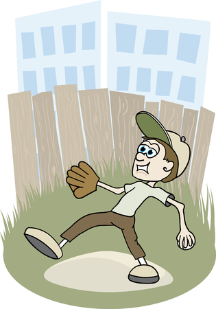 Illustration of a boy playing baseball in an inner city baseball field. Illustration