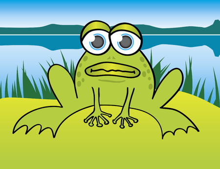 Illustration of a frog sitting in front of a lake.