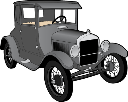 Illustration of a Ford Model T. Çizim