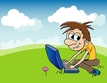 Illustration of a boy playing on his computer while sitting outside.