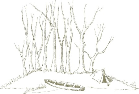 Pen and ink style illustration of a canoe sitting at camp.