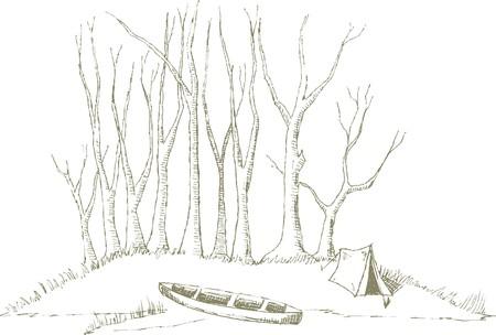 Pen en inkt stijl illustratie van een kano zittend op het kamp.