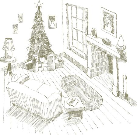Pen and ink style illustration of an interior Christmas scene.