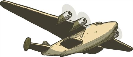 flying float: Pen and ink style illustration of a B314 Boeing Clipper sea plane. Illustration