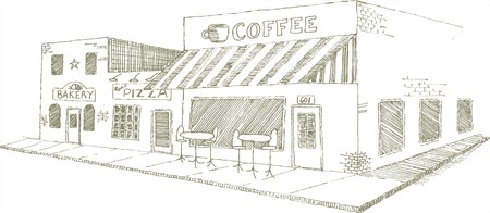 Pen and ink style illustration of an urban sidewalk cafe.