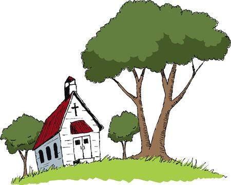 Pen en inkt stijl illustratie van een oude kerk.
