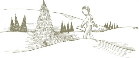 Pen and ink style illustration of a man cutting a Christmas tree.