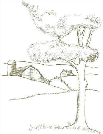 Feder und Tinte Stil Illustration einer Farm-Szene.  Standard-Bild - 7439841