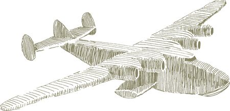 clipper: Pen and ink style illustration of a Pan Am Clipper float plane. Illustration