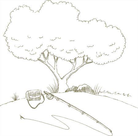 木の隣に座っているフライフィッシングのスタイルのイラストのペンとインク