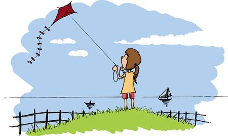 Pen and ink style illustration of a girl flying a kite. Ilustração