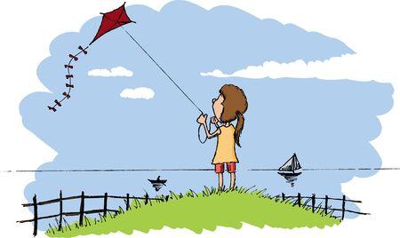 Pen- en inkt stijl illustratie van een meisje vliegen een vlieger. Stock Illustratie