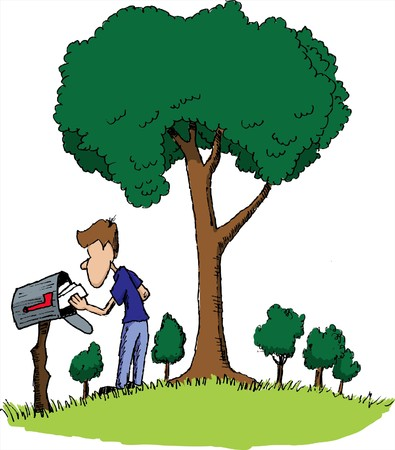 Pen and ink style illustration of a man getting his mail.