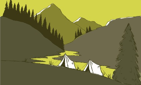 Pen and ink style illustration of a camp site with mountains in the background.