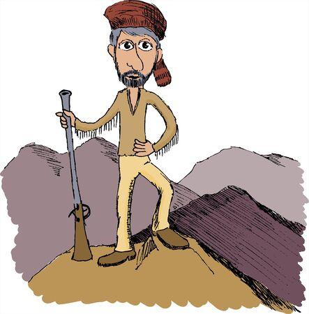 Dessin à la plume d'un homme de la montagne Banque d'images - 7439813