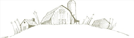 Pen and ink style illustration of an old barnfarm scene. Illustration