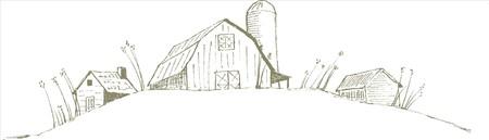 Pen en inkt stijl illustratie van een oude schuurboerderij scène. Stock Illustratie