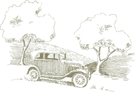 Pen and ink style illustration of a car in a rural setting.