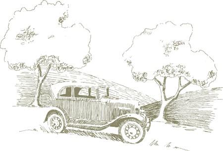 Pen en inkt stijl illustratie van een auto in een landelijke omgeving.