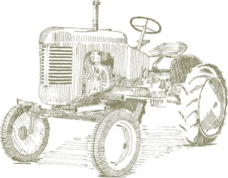 equipment: Pen and ink style illustration of an old tractor.