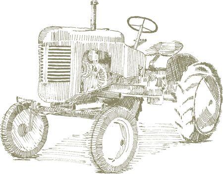 Pen en inkt stijl illustratie van een oude trekker. Stock Illustratie