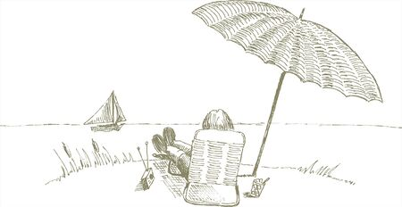 Pen and ink style illustration of a man relaxing by the beach.