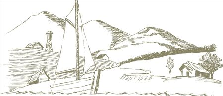 Pen and ink style illustration of a sailboat.