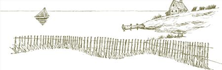 Pen and ink style illustration of a seascape. Çizim