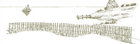 Pen en inkt stijl illustratie van a seascape.