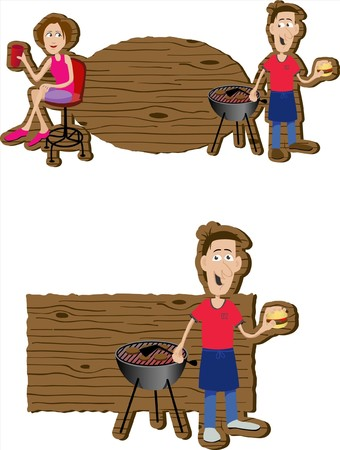 Pair of BBQ signs with illustrations of people on them.