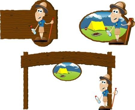 Collectie van camping borden met een illustratie van een scout.