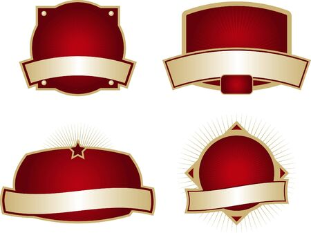 Collection of four blank labels with dark red backgrounds.