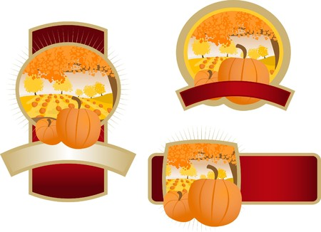 A collection of labels with an illustration of a pumpkin patch. Illustration