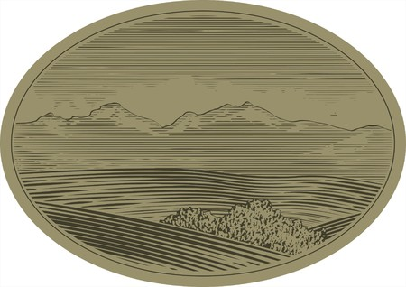 Woodcut style illustration of a mountain landscape scene.