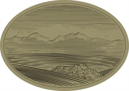 Woodcut style illustration of a mountain landscape scene. Stock Vector - 7520152