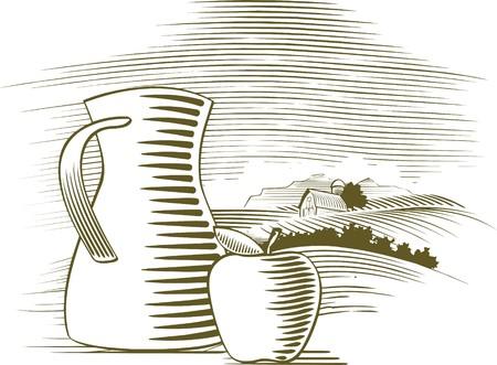 팜 배경 앞에 앉아 사과의 woodcut 스타일 그림.