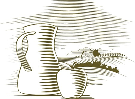 pitcher: Woodcut style illustration of an apple sitting in front of a farm background.