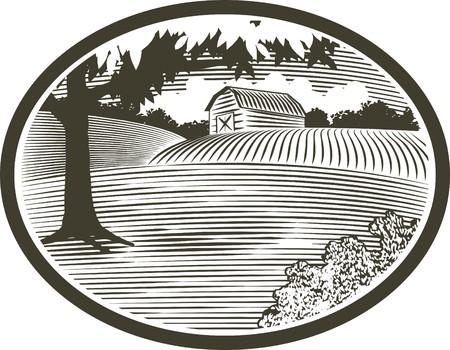 Hout snede stijl illustratie van een landelijke schuur scène.  Stock Illustratie
