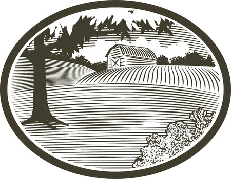 Woodcut style illustration of a rural barn scene. Illustration