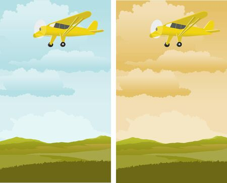 A pair of illustrations of an airplane flying over a rural landscape.