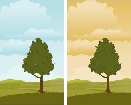 A pair of illustrations of a Spring landscape with a tree in the foreground. Stock Vector - 7589296
