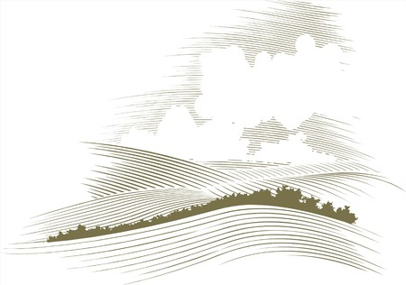 rolling landscape: Woodcut style illustration of a skyscape.