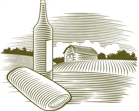 Illustration of a wine bottle with a farm scene in the background Illustration