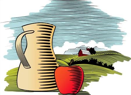 Houtsnede stijl illustratie van een appel en een werper met een boerderij achtergrond achter.