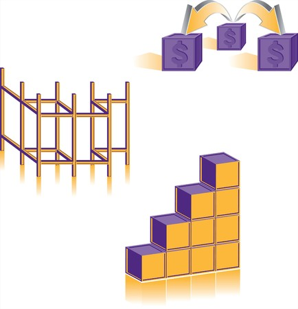 Collection of three business related icons for structure, distribution and increase.