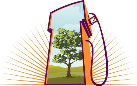 Illustration of a gas pump with an environmental scene on it.